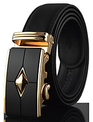 cheap -Men's Luxury Leather Alloy Automatic Buckle Waist Belt Work / Casual Leather All Season Gold / Silver