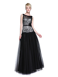 cheap -A-Line Jewel Neck Floor Length Lace / Tulle Bridesmaid Dress with Sash / Ribbon / Flower by LAN TING BRIDE® / See Through