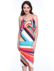 Women's Ruffle Casual/Daily Street chic Bodycon Layered Sexy Dress,Color Block Strap Midi Sleeveless