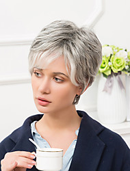 cheap -Human Hair Capless Wigs Human Hair Straight Pixie Cut With Bangs Side Part Short Wig Women's