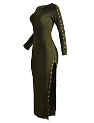 Women's Going out Club Vintage Sheath Dress,Solid Crew Neck Maxi Long Sleeve Brown Green Polyester Fall Winter High Rise Micro-elastic