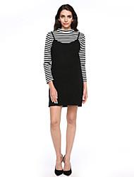 preiswerte -Damen Gestreift Freizeit Alltag T-shirt Rock Anzüge,Rundhalsausschnitt Langärmelige Langarm Baumwolle