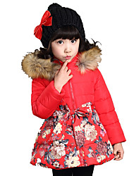 Girls Fashionable  Spring/Fall Long Sections Coachman Hooded Fur Collar Cotton-Padded Clothes