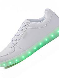 Damen-Sneaker-Lässig-Leder-Flacher Absatz-Komfort Light Up Schuhe-Schwarz Weiß