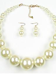 abordables -Mujer Juego de Joyas Perla Europeo Perla Perla Artificial Black Pearl 1 Collar 1 Par de Pendientes Para Diario Regalos de boda
