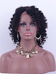 Χαμηλού Κόστους -Φυσικά μαλλιά Δαντέλα Μπροστά Χωρίς Κόλλα Δαντέλα Μπροστά Περούκα στυλ Βραζιλιάνικη Kinky Curly Περούκα 130% Πυκνότητα μαλλιών / Φυσική γραμμή των μαλλιών / 100% δεμένη στο χέρι / με τα μαλλιά μωρών