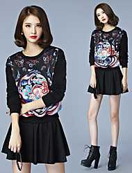 Women's Daily Christmas Casual/Daily Vintage Winter T-shirt,Sexy Lady Fashion Round Neck Long Sleeves N/A Medium