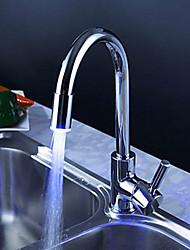 abordables -Moderne Décoration artistique/Rétro Débit Normal Vasque Rotatif LED Soupape céramique Mitigeur un trou Chrome , Robinet de Cuisine