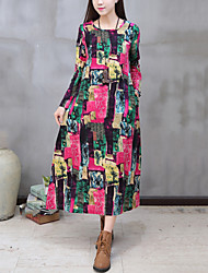 cheap -Women's Daily Street chic Chinoiserie Loose Dress Print Round Neck Maxi Long Sleeve Red Cotton /Linen Spring /Fall