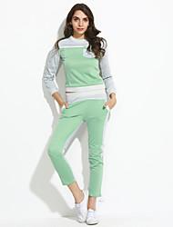 Activewear Set Femme Grandes Tailles Sports Couleur Pleine Micro-élastique Coton Manches longues Printemps Automne