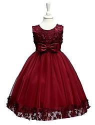billige -Pige Blomster / Blonde / Rosette I-byen-tøj / Afslappet / Hverdag Ensfarvet / Blomstret Uden ærmer Kjole