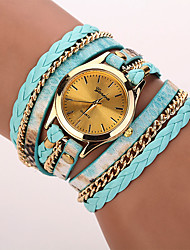cheap -Women's Fashion Watch Wrist watch Bracelet Watch Punk Colorful Quartz PU Band Vintage Leopard Bohemian Charm Bangle Cool CasualBlack Blue