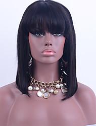 Χαμηλού Κόστους -Φυσικά μαλλιά Δαντέλα Μπροστά Χωρίς Κόλλα Περούκα Κούρεμα καρέ στυλ Βραζιλιάνικη Ίσιο Φύση Μαύρο Περούκα 130% Πυκνότητα μαλλιών / Φυσική γραμμή των μαλλιών / 100% δεμένη στο χέρι / με τα μαλλιά μωρών
