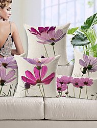 cheap -5pcs Cotton/Linen Pillow Cover,Floral Modern/Contemporary High Quality