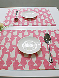 Rectangular Print Patterned Placemat , Cotton Blend Material Hotel Dining Table Table Decoration