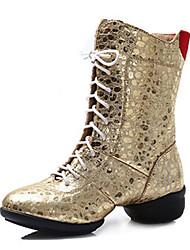 Scarpe da ballo-Personalizzabile-Da donna-Balli latino-americani / Jazz / Sneakers da danza moderna / Moderno-Quadrato-Finta pelle-Nero /