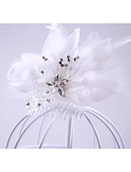 economico -pettini in piuma di strass resina pettini copricapo classico stile femminile