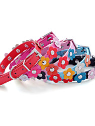cheap -Dog Collar Adjustable / Retractable Solid Nature & Landscapes PU Leather Yellow Rose Red Blue Pink