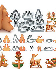 8pcs Set 3D Christmas Scenario Cookie Cutter Stainless Steel Fondant Cake Mould Mousse Mold Baking Tool  Biscuit Moulds