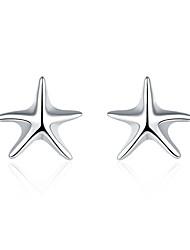abordables -Mujer Cristal Pendientes cortos - Plateado Estrella de mar Moda Plata Para Boda / Diario
