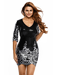 Women's Sequin Black Victorian Sequins 3/4 Sleeves Bodycon Dress