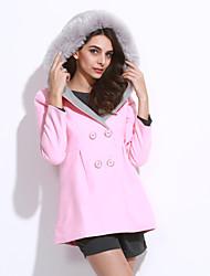 Damen Solide Retro / Einfach Lässig/Alltäglich Mantel,Winter Gekerbtes Revers Langarm Rosa / Rot / Grün Dick Wolle