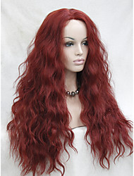High Quality Heat Resistant Dark Red  Wavy Lace Front Long Wig