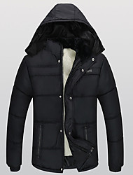 Men's Regular Padded Coat,Simple Casual/Daily Solid Patchwork-Cotton Cotton Long Sleeve Hooded