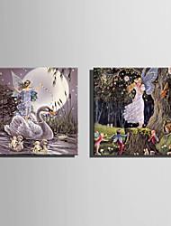 E-HOME® Stretched LED Canvas Print Art The Forest Fairy LED Flashing Optical Fiber Print Set of 2