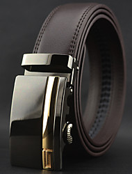 Men's Brown Leather Automatic Buckle Waist Belt Work/Casual Alloy/Leather All Seasons