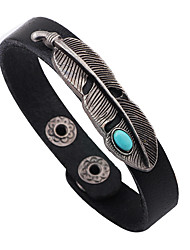 cheap -Men's Turquoise Leather Bracelet - Leather, Turquoise Leaf Personalized, Punk, Rock Bracelet Black / Red / Light Brown For Daily / Casual