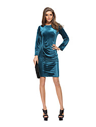 Women's Velvet Casual/Daily / Work Sexy / Street chic Bodycon Dress,Solid Round Neck Above Knee Long Sleeve Blue / Red / Black / Green Polyester