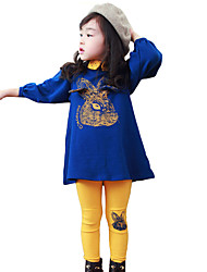 cheap -Girls' Daily Going out Patchwork Clothing Set,Cotton Spring Fall Long Sleeve Dot Blue
