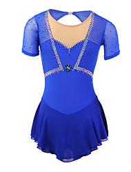 Robe de Patinage Artistique Femme Fille Robe de Patinage Bleu Elasthanne Classique Utilisation Fait à la main Manches Longues Tenue de