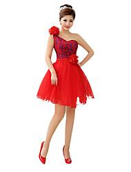 une ligne princesse bretelles courte / mini tulle robe de demoiselle d'honneur avec ruban fleur par qqc nuptiale