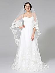 Wedding Veil One-tier Chapel Veils Lace Applique Edge Net