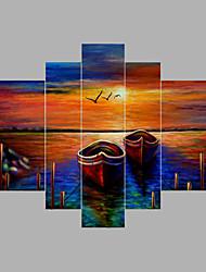 Ručně malované Abstraktní Horizontální,Moderní Pět panelů Plátno Hang-malované olejomalba For Home dekorace