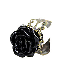 cheap -Women's Statement Ring - Acrylic, Alloy Roses, Flower Open Adjustable Black For Daily