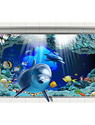 Underwater World 3D Stickers The Floor Tile Individuality Decorative Carpet Decal