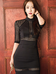New autumn and winter knit stitching lace sexy ladies temperament Slim thin package hip dress women step