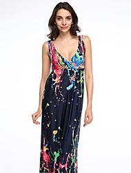 cheap -Women's Holiday Plus Size Boho Swing Dress,Rainbow Strap Maxi Sleeveless Cotton Polyester Summer Mid Rise Micro-elastic