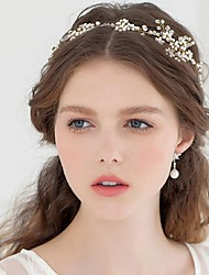 Donne Strass Lega Perle false Copricapo-Matrimonio Occasioni specialiTiare Fasce Fiori Ghirlande di fiori Catenina per la testa Utensili