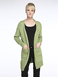 cheap -Women's Long Sleeves Long Cardigan - Solid Colored