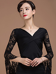 cheap -Ballroom Dance Tops Women's Performance Rayon Lace Criss-Cross 1 Piece 3/4 Length Sleeve Natural Top