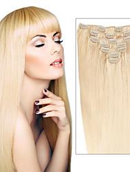 billige -Febay Clips på Menneskehår Extensions Lige Remy hår Menneskehår Mørk Blond Medium Blond Mørk vin