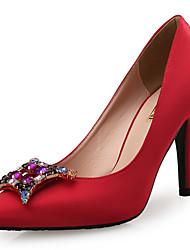 Women's Heels Novelty Leather Silk Wedding Party & Evening Dress Stiletto Heel Rhinestone Crystal Sparkling Glitter White Black Red