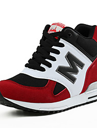 cheap -Women's Shoes Suede Spring / Fall Athletic Shoes Walking Shoes Platform / Wedge Heel Round Toe Lace-up Black / Gray / Red