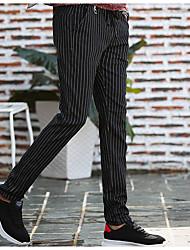 economico -Per uomo Stoffe orientali Cotone Taglia piccola magro / Chino Pantaloni - A strisce / Fine settimana