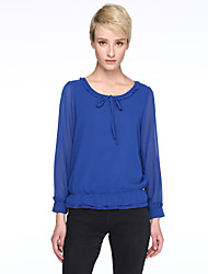 cheap -Women's Solid Blue / Red / Black Blouse , Round Neck Long SleevePlus Size