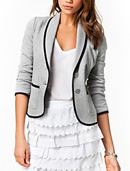 cheap -Women's Work Basic Plus Size Cotton Blazer-Solid Colored